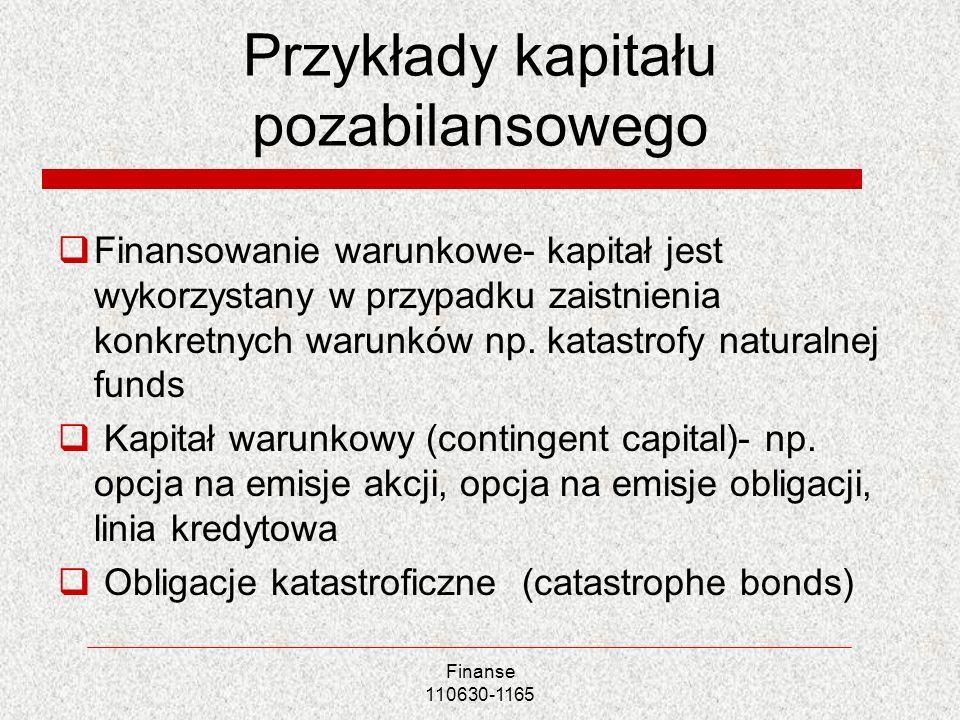 Przykłady kapitału pozabilansowego
