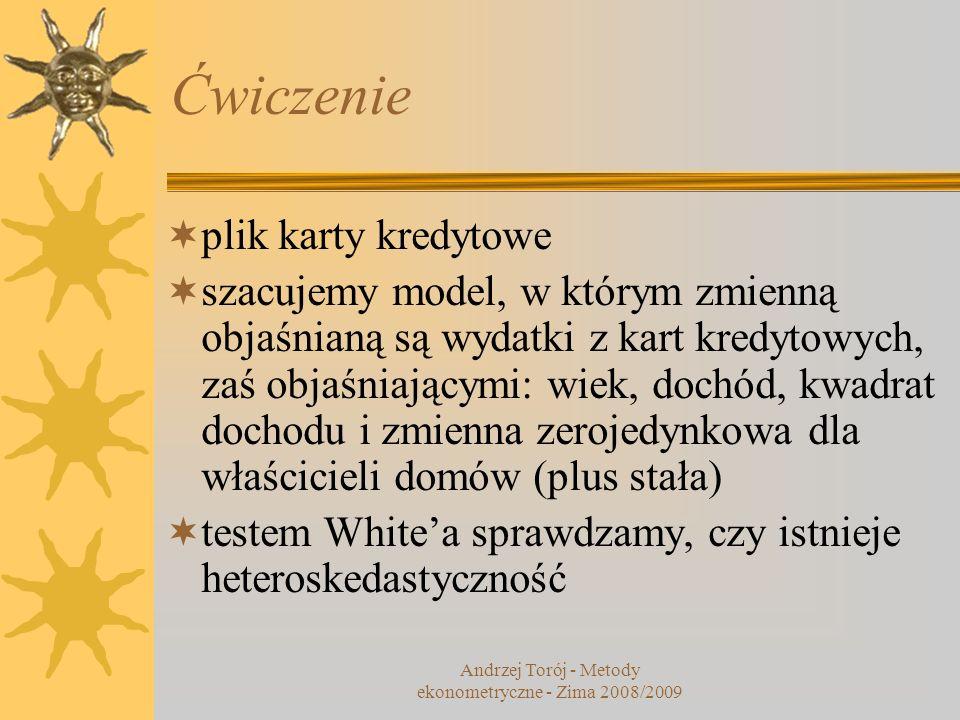 Andrzej Torój - Metody ekonometryczne - Zima 2008/2009