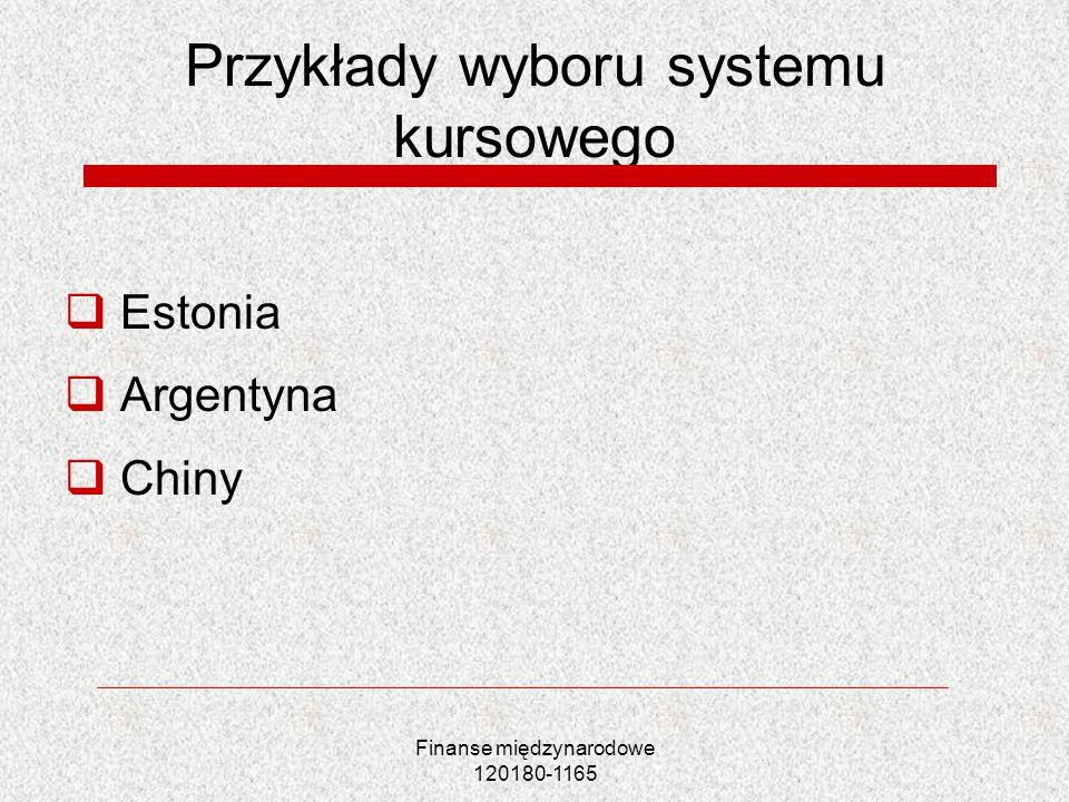 Przykłady wyboru systemu kursowego