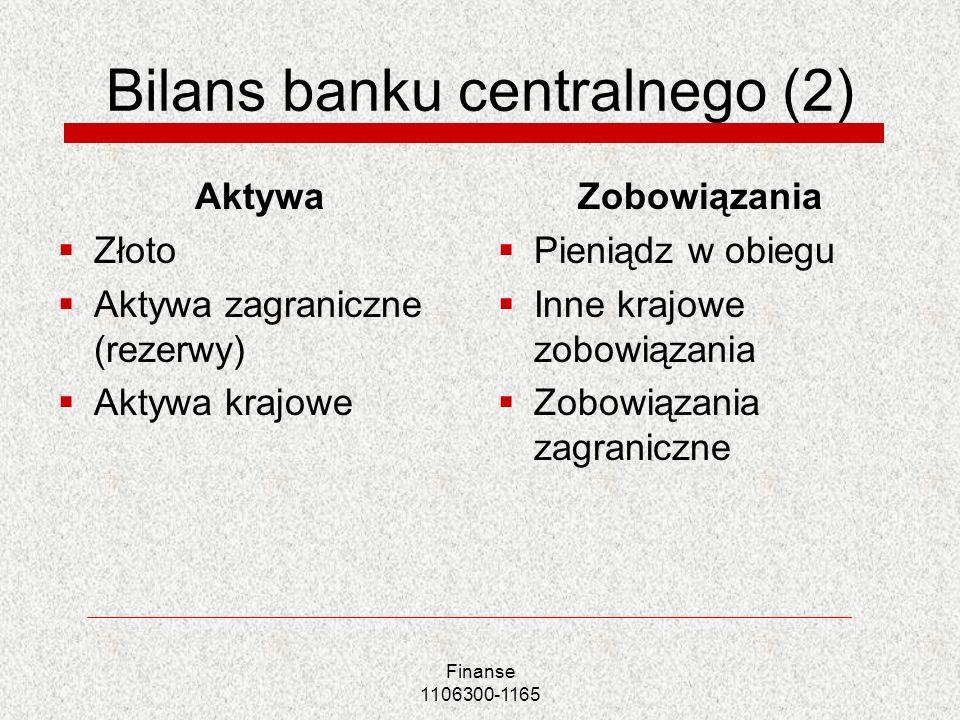 Bilans banku centralnego (2)