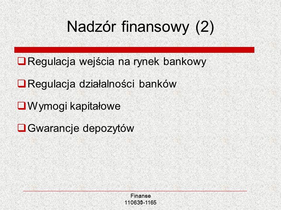 Nadzór finansowy (2) Regulacja wejścia na rynek bankowy