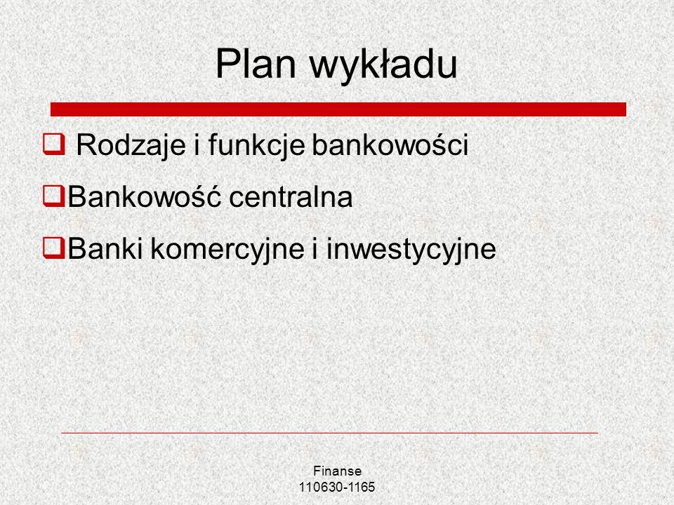 Plan wykładu Rodzaje i funkcje bankowości Bankowość centralna