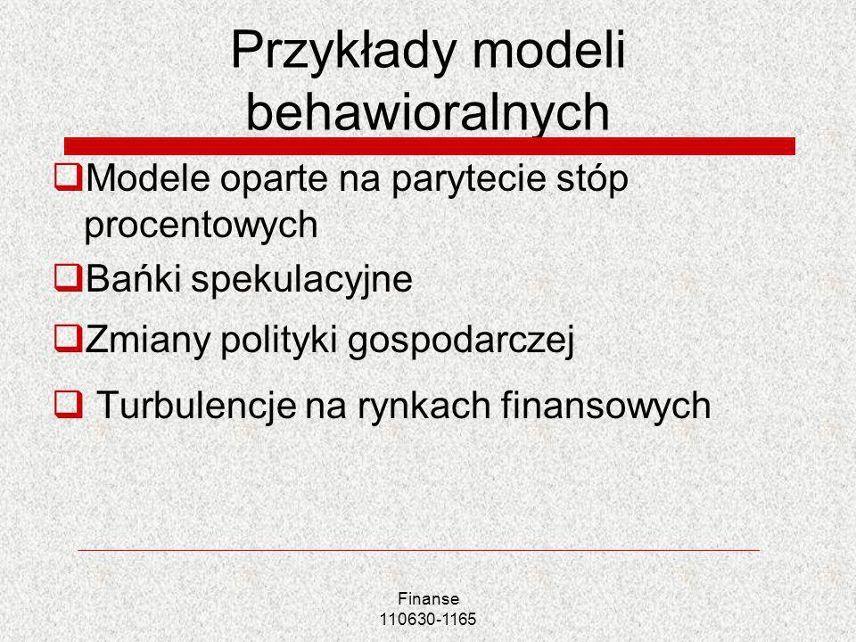 Przykłady modeli behawioralnych