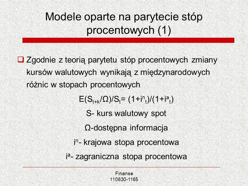 Modele oparte na parytecie stóp procentowych (1)