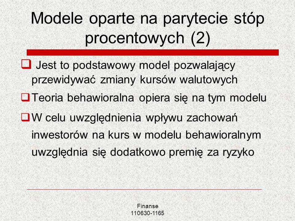 Modele oparte na parytecie stóp procentowych (2)