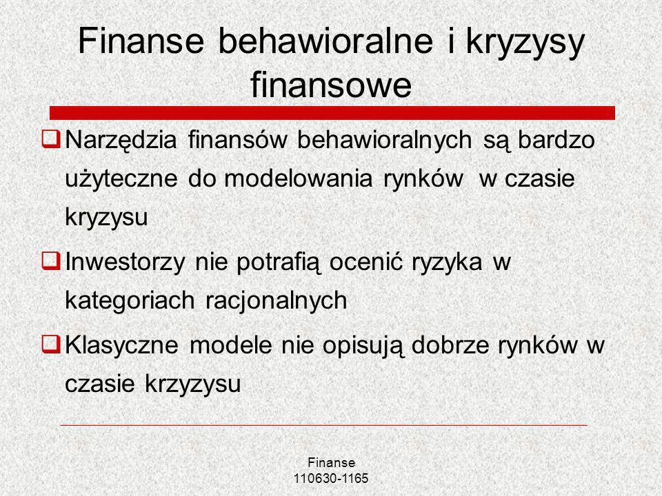 Finanse behawioralne i kryzysy finansowe