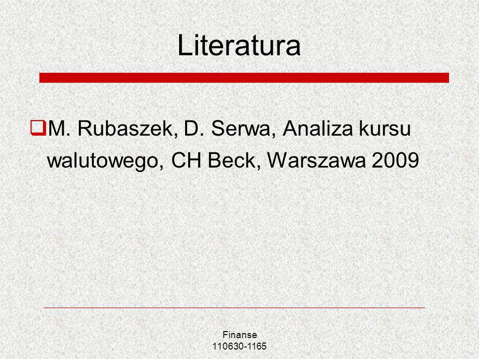 Literatura M. Rubaszek, D. Serwa, Analiza kursu walutowego, CH Beck, Warszawa 2009.