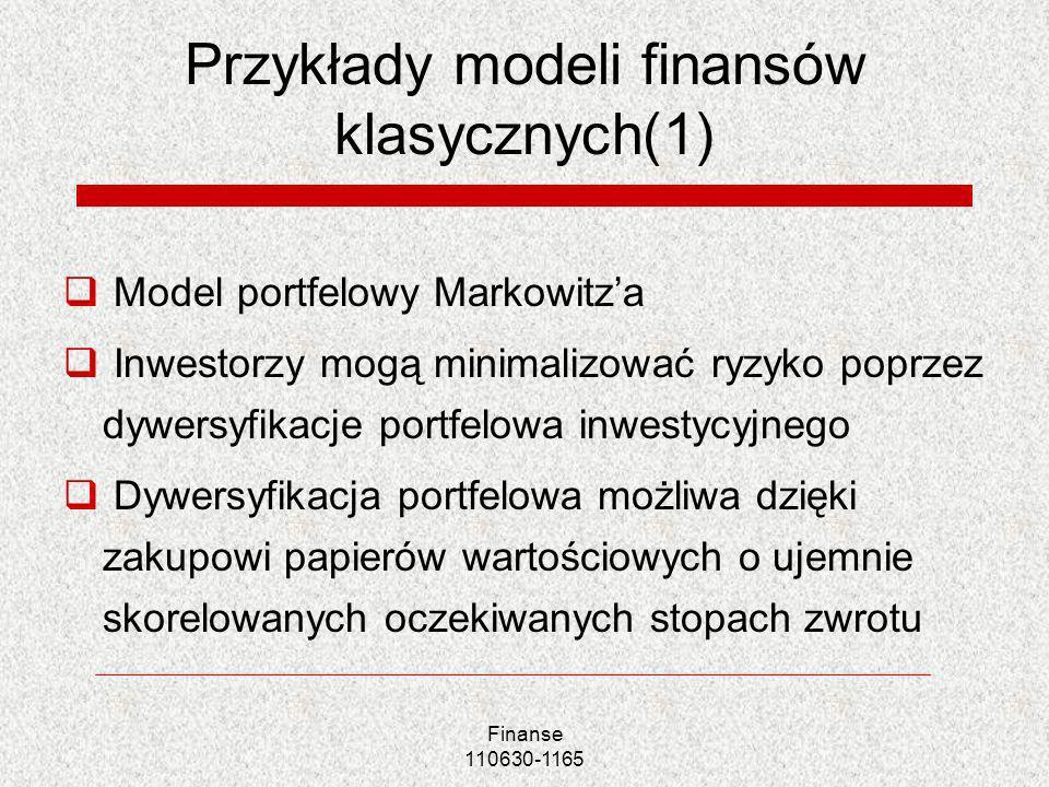 Przykłady modeli finansów klasycznych(1)
