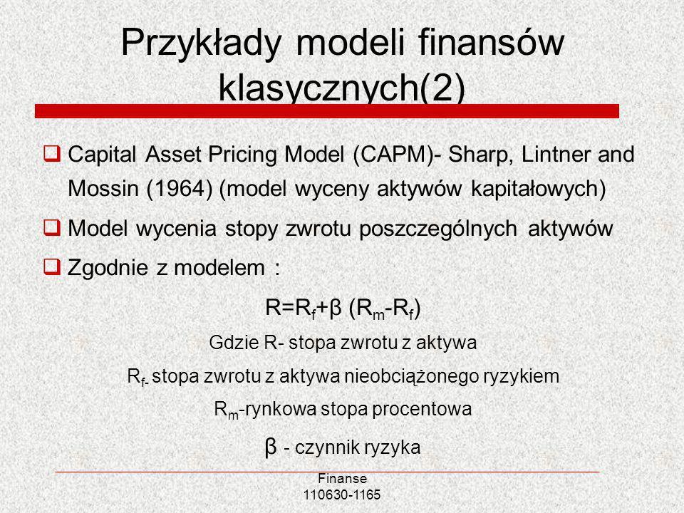 Przykłady modeli finansów klasycznych(2)