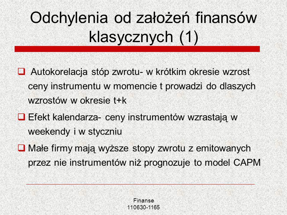 Odchylenia od założeń finansów klasycznych (1)