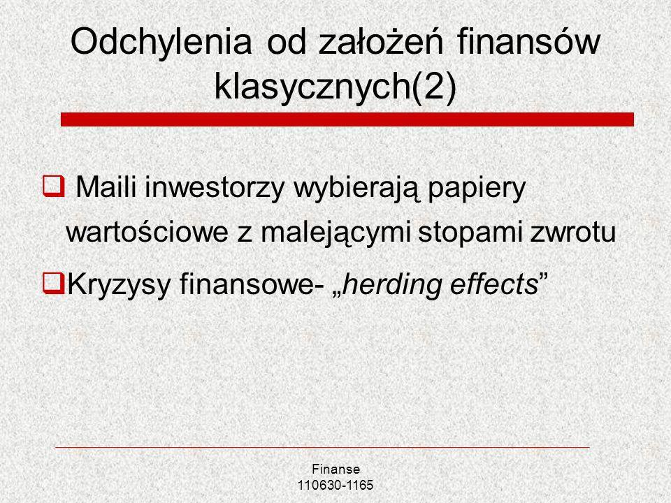 Odchylenia od założeń finansów klasycznych(2)