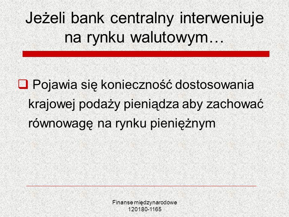 Jeżeli bank centralny interweniuje na rynku walutowym…