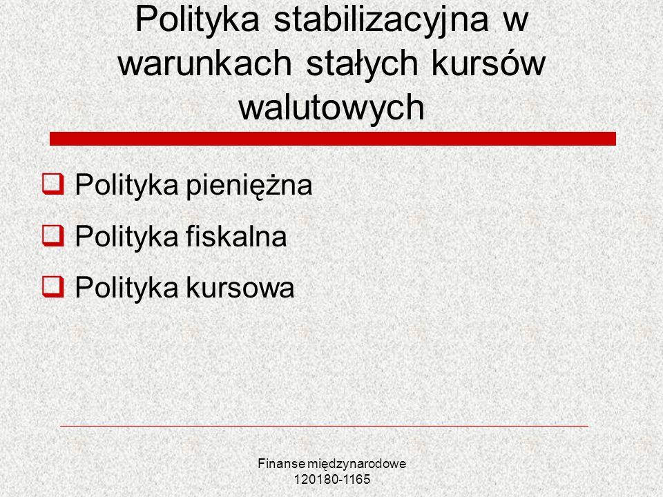 Polityka stabilizacyjna w warunkach stałych kursów walutowych