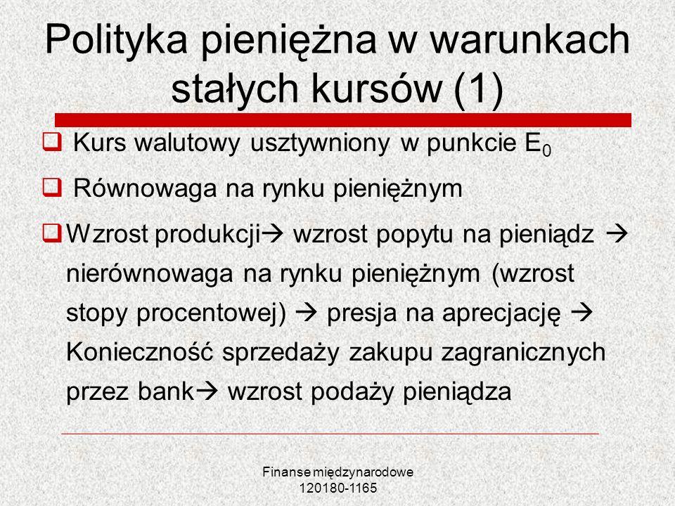 Polityka pieniężna w warunkach stałych kursów (1)