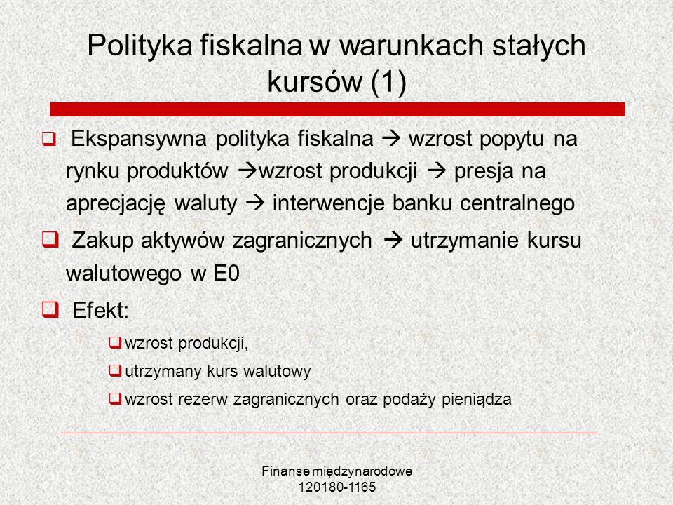 Polityka fiskalna w warunkach stałych kursów (1)