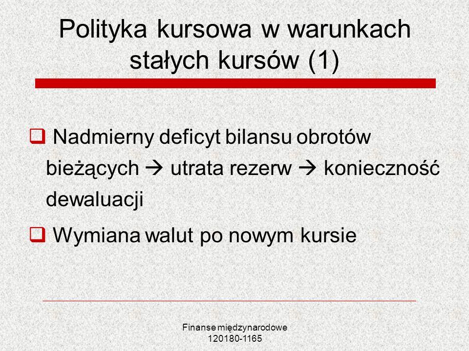 Polityka kursowa w warunkach stałych kursów (1)