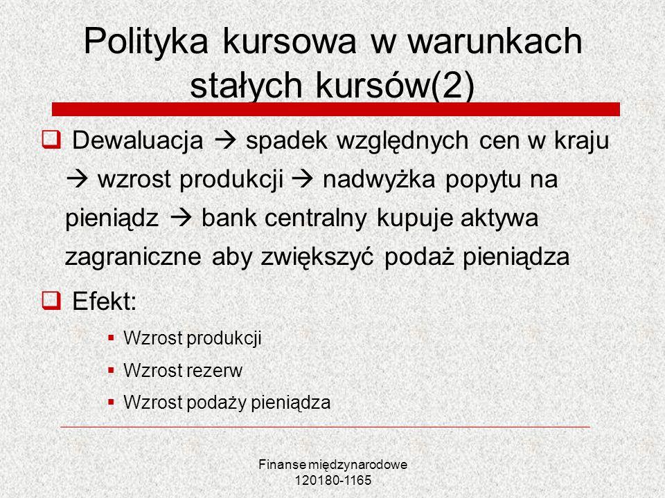 Polityka kursowa w warunkach stałych kursów(2)