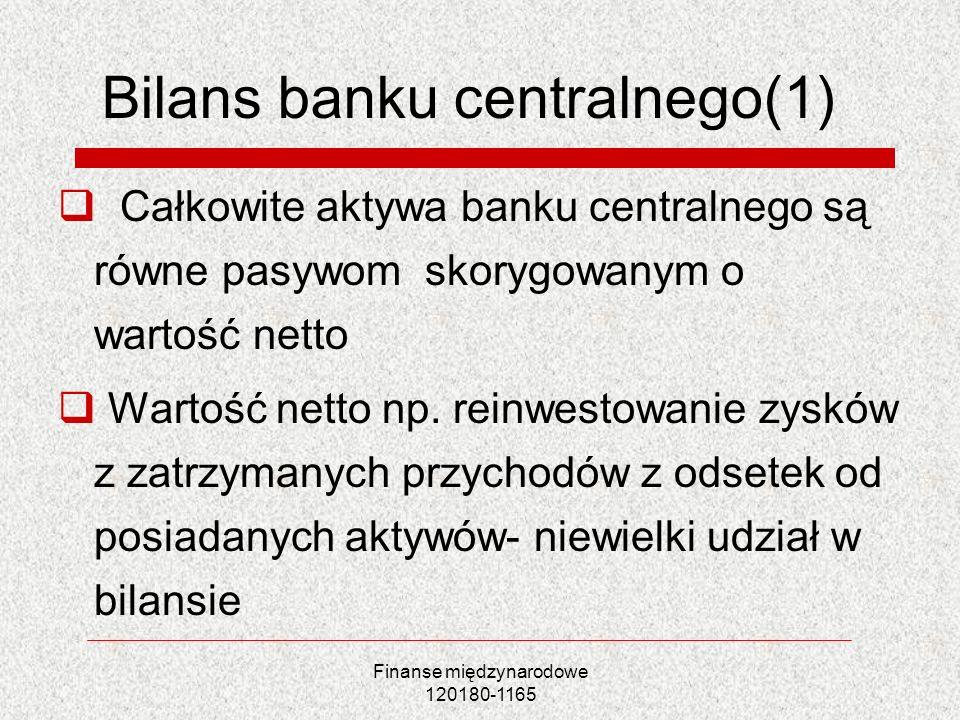 Bilans banku centralnego(1)