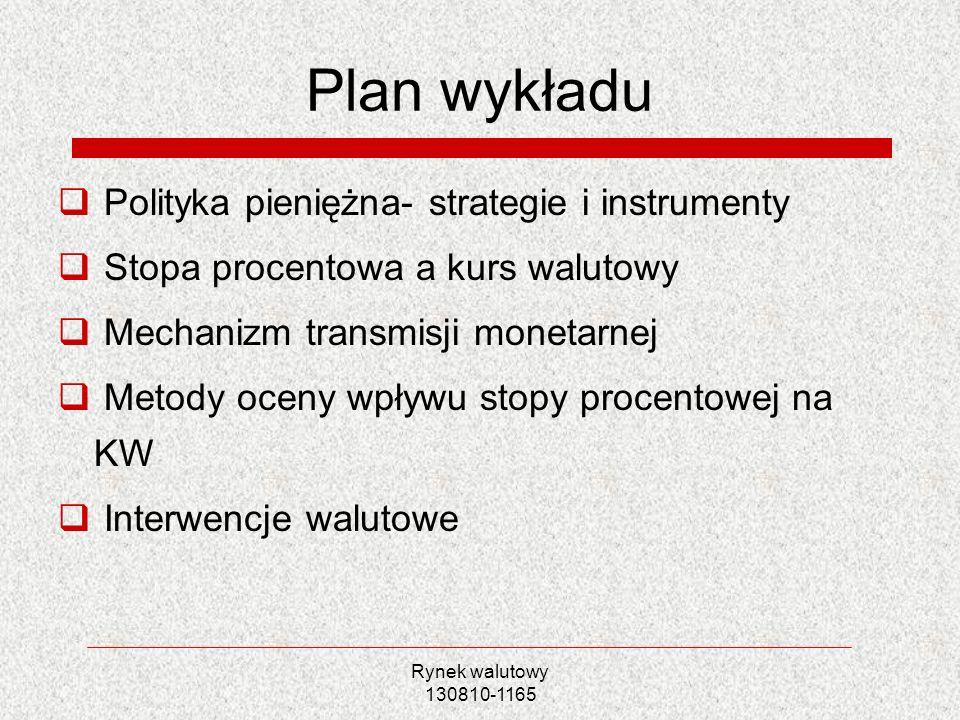 Plan wykładu Polityka pieniężna- strategie i instrumenty