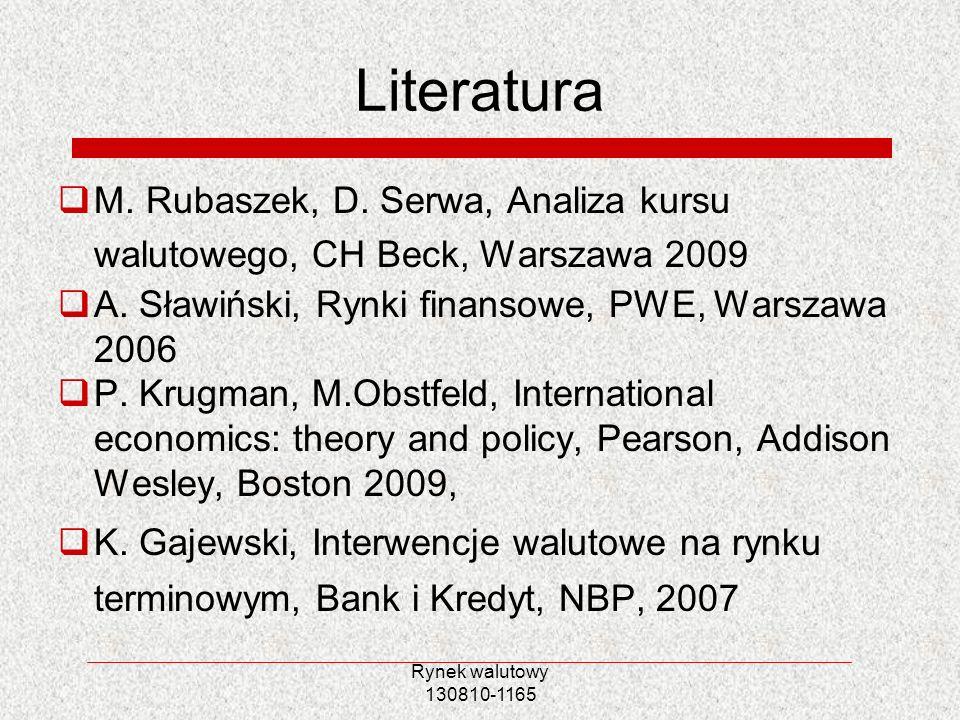 Literatura M. Rubaszek, D. Serwa, Analiza kursu walutowego, CH Beck, Warszawa 2009. A. Sławiński, Rynki finansowe, PWE, Warszawa 2006.