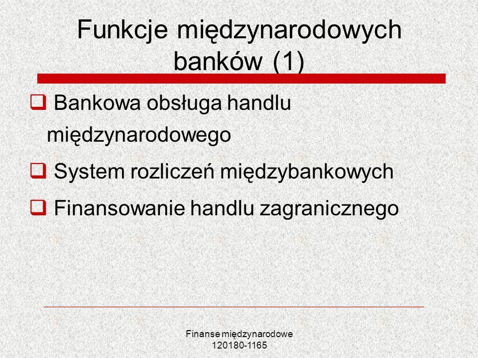 Funkcje międzynarodowych banków (1)