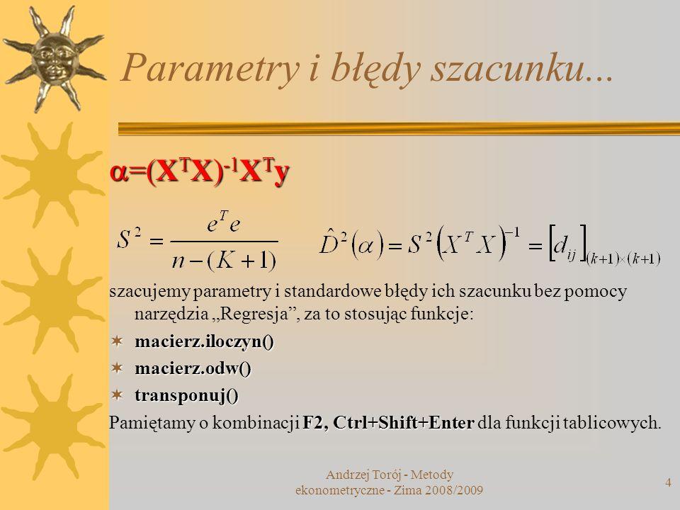 Parametry i błędy szacunku...