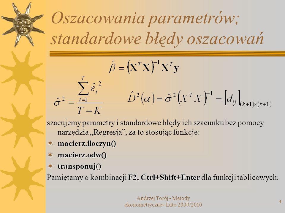 Oszacowania parametrów; standardowe błędy oszacowań