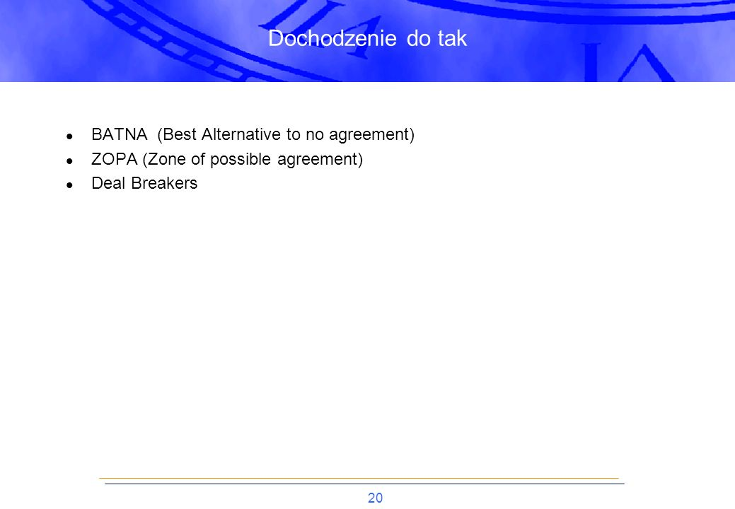 Dochodzenie do tak BATNA (Best Alternative to no agreement)