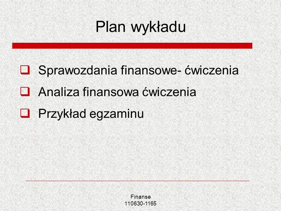 Plan wykładu Sprawozdania finansowe- ćwiczenia