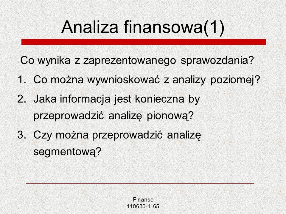 Analiza finansowa(1) Co wynika z zaprezentowanego sprawozdania