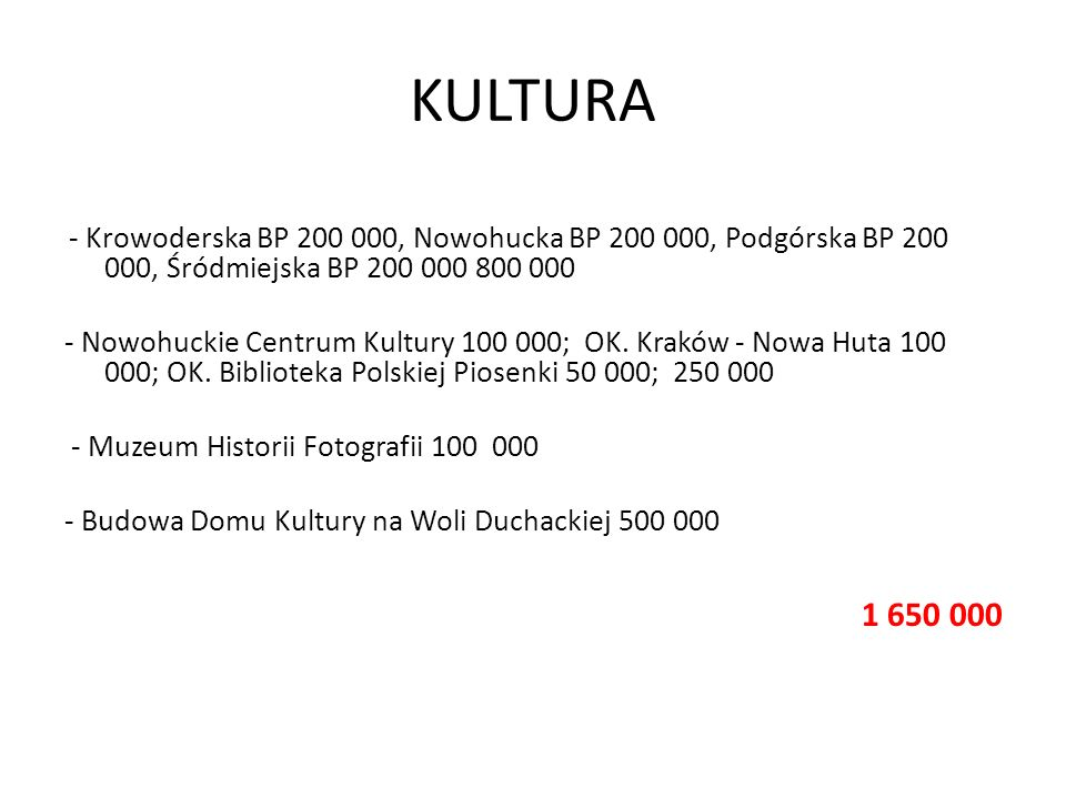 KULTURA- Krowoderska BP 200 000, Nowohucka BP 200 000, Podgórska BP 200 000, Śródmiejska BP 200 000 800 000.