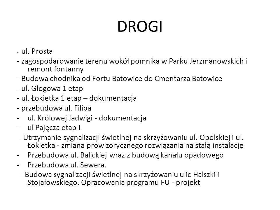 DROGI- ul. Prosta. - zagospodarowanie terenu wokół pomnika w Parku Jerzmanowskich i remont fontanny.