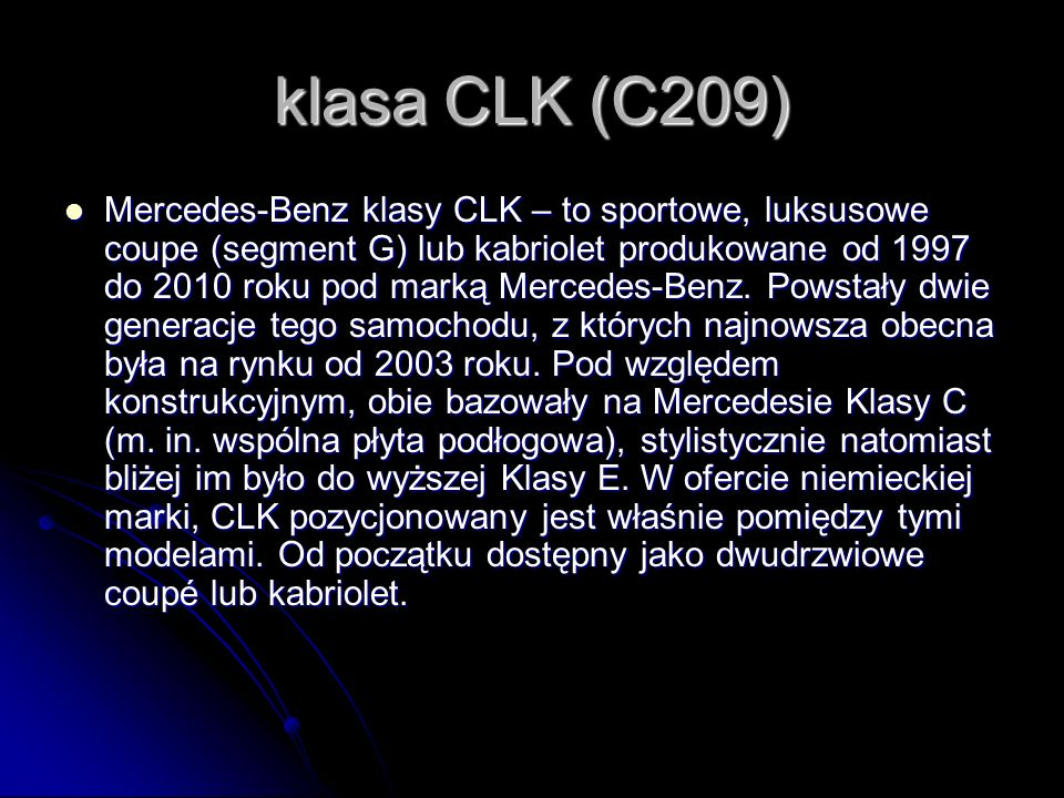 klasa CLK (C209)