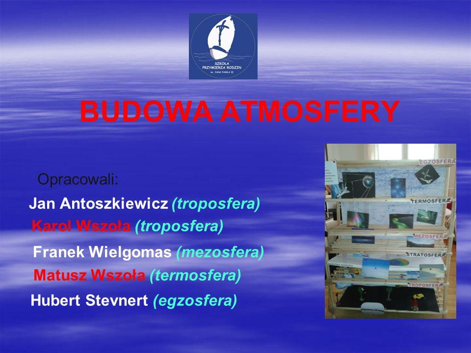 BUDOWA ATMOSFERY Opracowali: Jan Antoszkiewicz (troposfera)