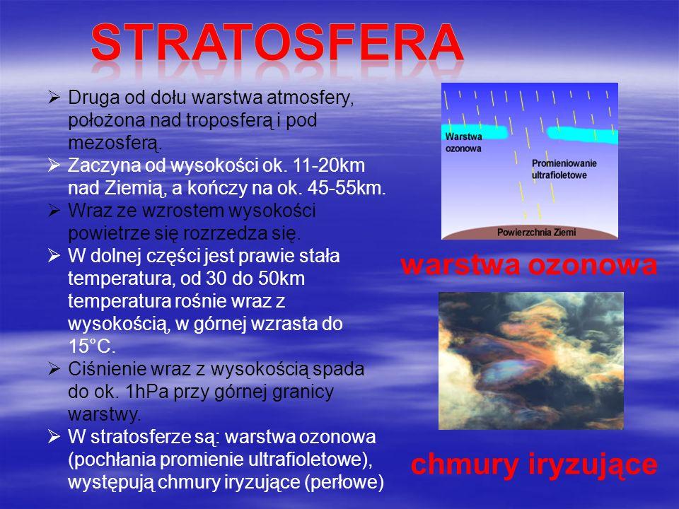 stratosfera warstwa ozonowa chmury iryzujące