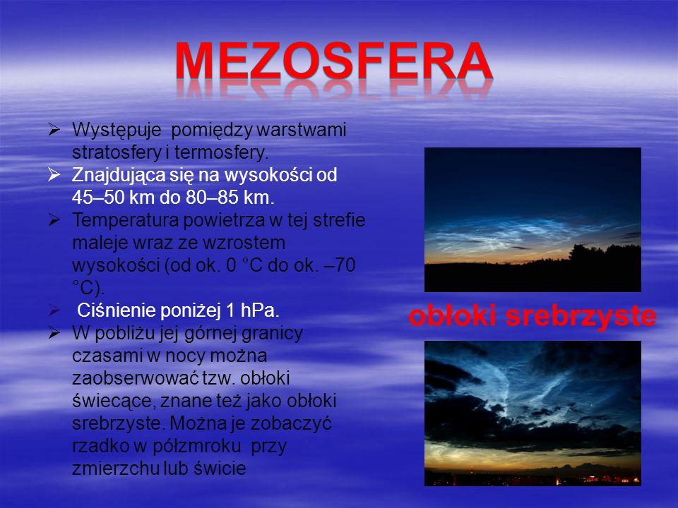 Mezosfera obłoki srebrzyste
