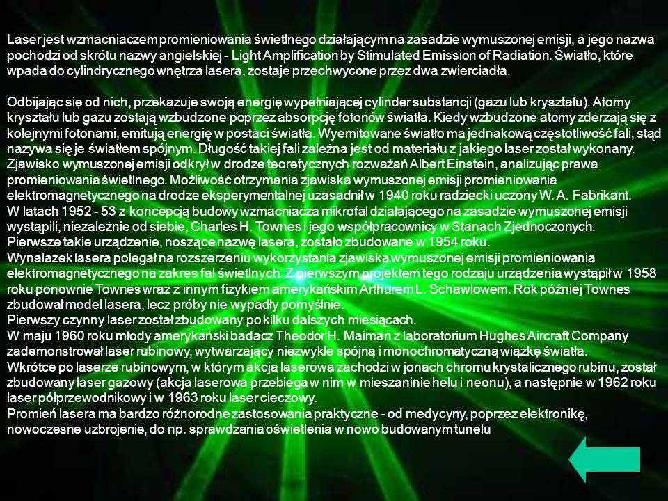 Laser jest wzmacniaczem promieniowania świetlnego działającym na zasadzie wymuszonej emisji, a jego nazwa pochodzi od skrótu nazwy angielskiej - Light Amplification by Stimulated Emission of Radiation. Światło, które wpada do cylindrycznego wnętrza lasera, zostaje przechwycone przez dwa zwierciadła.