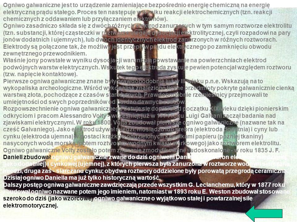 Ogniwo galwaniczne jest to urządzenie zamieniające bezpośrednio energię chemiczną na energię elektryczną prądu stałego. Proces ten następuje w wyniku reakcji elektrochemicznych (tzn. reakcji chemicznych z oddawaniem lub przyłączaniem elektronów).