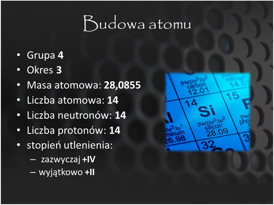 Budowa atomu Grupa 4 Okres 3 Masa atomowa: 28,0855 Liczba atomowa: 14