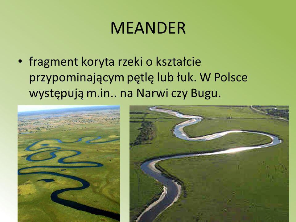 MEANDER fragment koryta rzeki o kształcie przypominającym pętlę lub łuk.