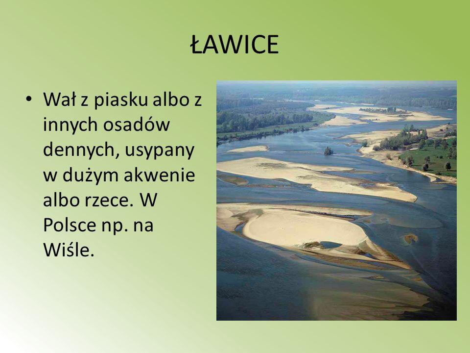 ŁAWICE Wał z piasku albo z innych osadów dennych, usypany w dużym akwenie albo rzece.