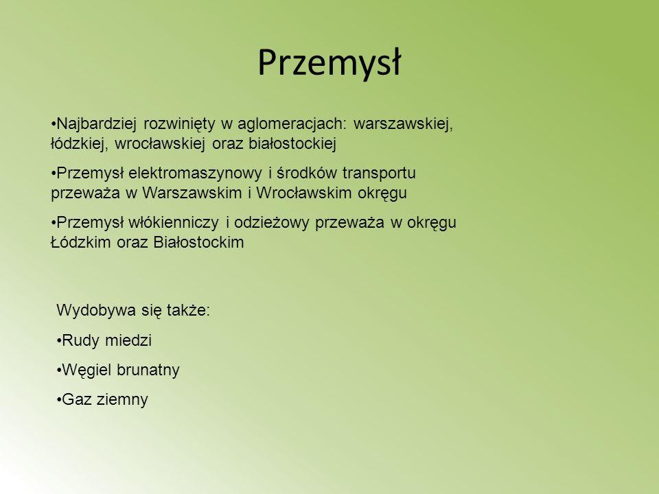 Przemysł Najbardziej rozwinięty w aglomeracjach: warszawskiej, łódzkiej, wrocławskiej oraz białostockiej.
