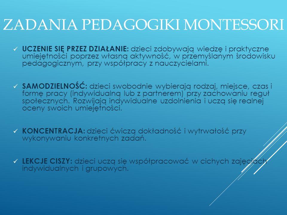 Zadania pedagogiki Montessori