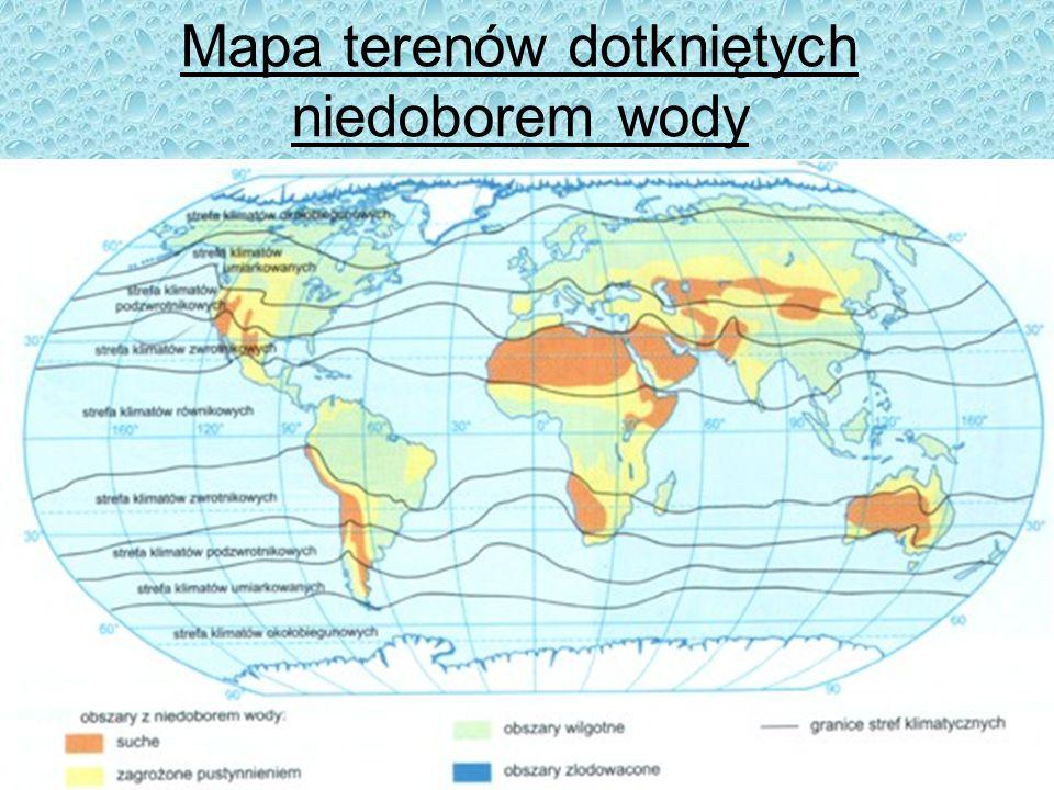 Mapa terenów dotkniętych niedoborem wody