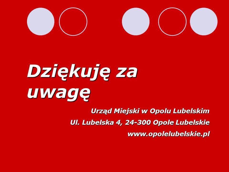 Dziękuję za uwagę Urząd Miejski w Opolu Lubelskim