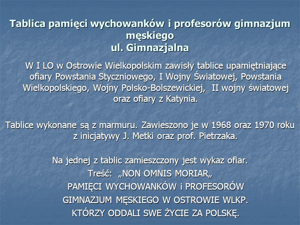 Tablica pamięci wychowanków i profesorów gimnazjum męskiego ul