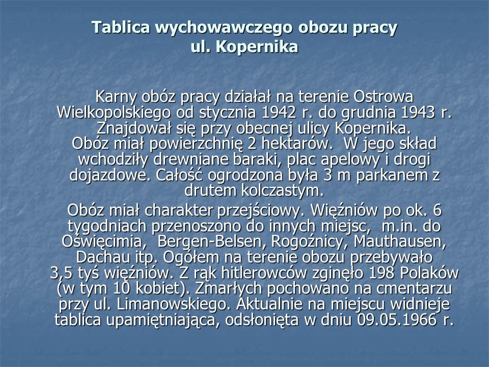 Tablica wychowawczego obozu pracy ul. Kopernika