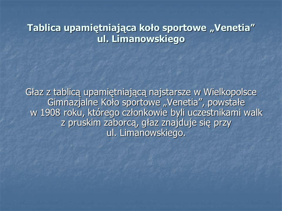 """Tablica upamiętniająca koło sportowe """"Venetia ul. Limanowskiego"""