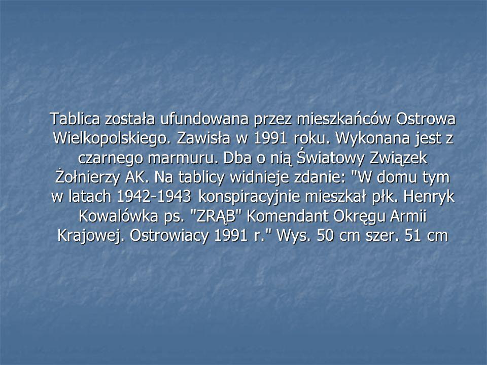 Tablica została ufundowana przez mieszkańców Ostrowa Wielkopolskiego