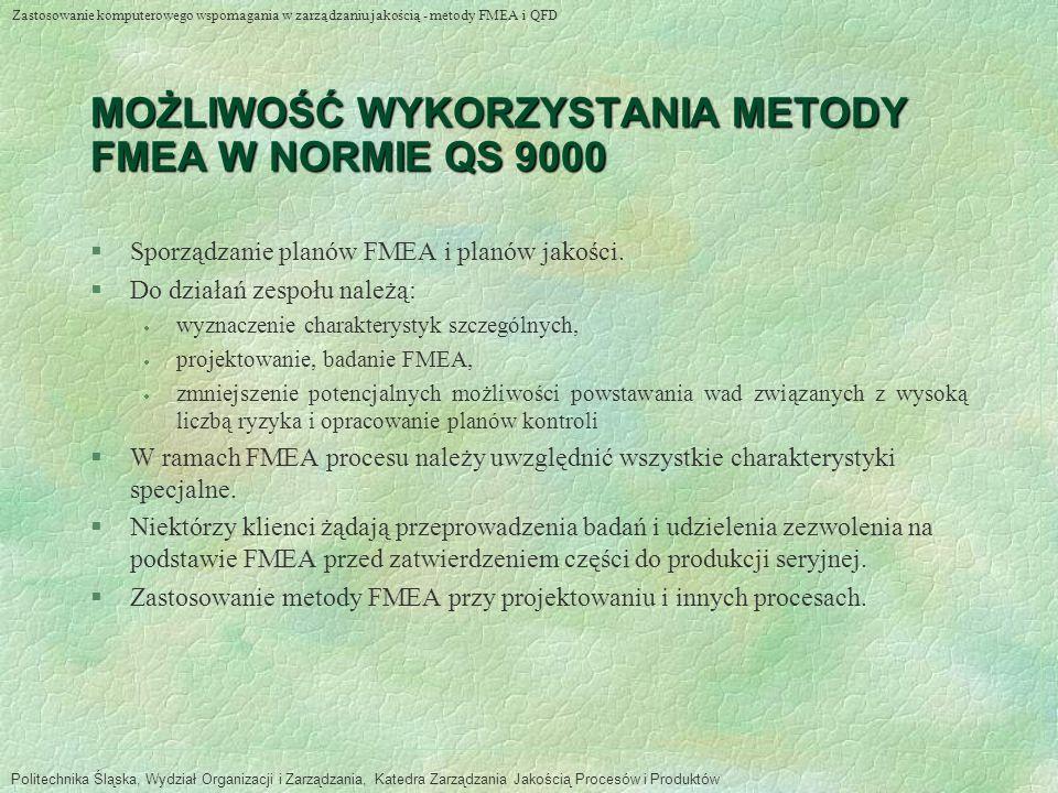 MOŻLIWOŚĆ WYKORZYSTANIA METODY FMEA W NORMIE QS 9000